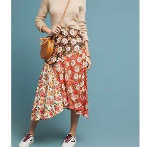 Anthropologie Floral Farm Rio Patchwork Midi Skirt